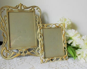 Gold and antique white upcycled filigree picture frames