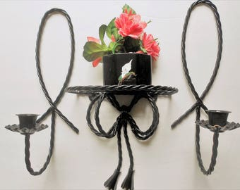 Rod iron look black metal sconces with shelf, twisted metal hand painted retro wall decor