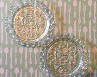 Beaded Glass Coasters | German Democratic Republic | Small Dishes | Trinket Plates | Embossed Rose Flowers | Tea Party