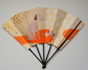 Decorative fan, bamboo and paper card, Japanese 'ohgi' sensu, made in Kyoto #7