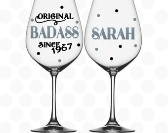 50th birthday gifts for women - Original badass since 1967 - name included - 50th birthday party favors -  50th birthday wine glass