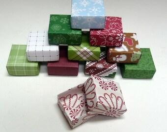 Set of 10 Small Holiday Boxes, Gift Box, Origami  Box, Christmas Box, Hand Made Box, Colorful Box