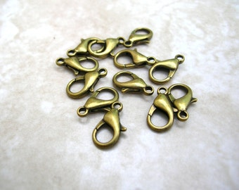 1 Dozen Gold Tone Lobster Claw Clasps - Necklace Clasp - Bracelet Clasps 14MM