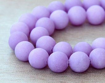 Matte Dyed Jade Beads, Light Purple, 10mm Round - 15 inch strand - eFJR-M62-10