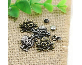 10 pcs 0.51*0.71 inch Retro Anti-silver/Bronze Skull Rivets Metal Shank Buttons for Jeans/Bags/Decoration Accessories