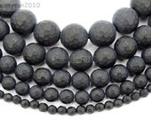 Natural Matte Black Onyx Faceted Round Gems Stones Size 6mm 8mm 10mm 12mm Round Ball Spacer Beads 15.5'' Great For Jewelry Design