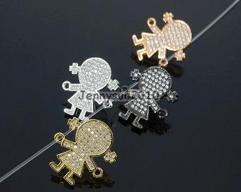 Clear Zircon Gemstones Pave Girl Bracelet Connector Charm Beads Silver Gold Rose Gold Gunmetal