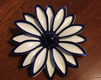 Blue and White Metal Flower Enamel Brooch Pin