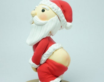Funny Santa Claus show his butt Christmas tree ornament clay doll, Funny Xmas cake topper clay figure, Personalized Noel gift clay miniature