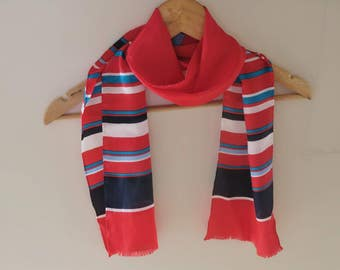 Long silk scarf, striped silk scarf,  Australian red white blue scarf, Oroton scarves, summer silk scarf, skinny scarves, 80s oblong scarf,