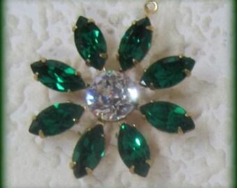 Swarovski Crystal Emerald Green 36MM Multi 9 Stone Rhinestone Navette Chaton Brass Flower Pendant