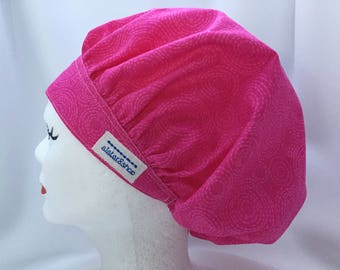 Scrub Hat Bouffant Style Bright Pink on Pink Circles Print