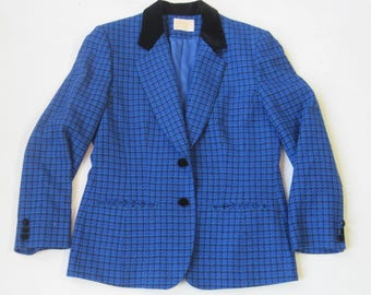 Pendleton Classic Womens Vintage Blue Plaid Wool Pants Suit Size 8 Carreer