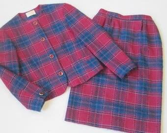 Pendleton Classic Womens Vintage Blue Plaid Wool Pants Suit Size 8 Carreer