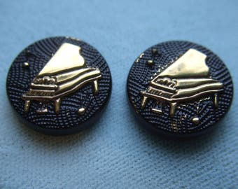 Vintage Glass Black Jet with Gold Cameo Relief Grand Piano Cabochon 18mm  x 2