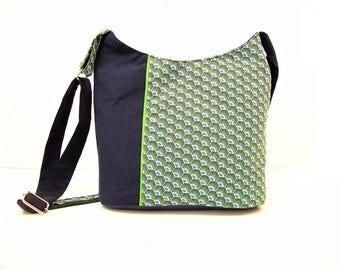 crossbody bag navy blue and green graphic fabric ,canvas bucket bag for women ,zippered crossbody purse