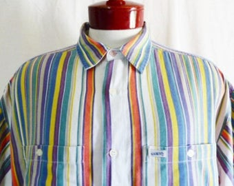 vintage 80s 90s Guess Products white blue green yellow orange purple vertical stripe collar shirt short sleeve cotton twill oversized medium