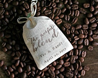 Wedding favor bags, set of 50 personalized coffee or tea favor bags. Modern script Perfect Blend design in brown. Shower, party favor bags.