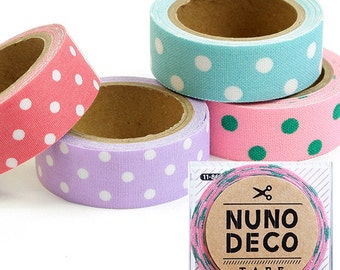 Cute Nuno Deco Iron-On / Adhesive Fabric Tape Dot Design - Japanese Craft Supply