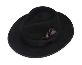 Felt Fedora Hat with a feather , Mens Hat , Wide Brim Felt Hat  , Winter Hat  , Womens Fedora Hat , Classic Wide Hat