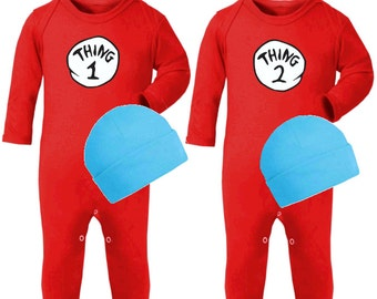 Thing 1 and Thing 2  Dr Seuss Twin Rompers Set / Twins Baby Rompers /  Cat in the Hat Baby Romper / Twins Thing One Thing Two Sleep and Play