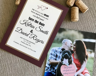 Photo save the date - postcard save the date - wedding save the date - rustic save the date