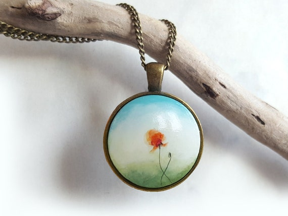 Hand Painted Red Poppy Pendant, Chain Flower Charm Necklace, Acrylic Painting Necklace, Handmade & Handcrafted Jewelry by Artdora