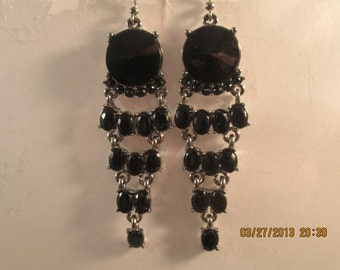 Black and Silver Tone Dangle Earrings with Black Crystal Like Beads