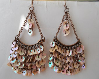Bronze Tone Chain Chandelier Earrings with Layered Tine Pink Disc Beads