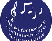 "Music stickers - Sheet of 20 - 2"" round.  Music Birthday Party Favors.  2 Inch Round Music Note Stickers"