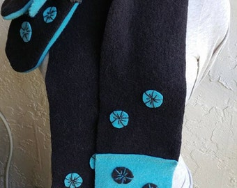 Turquoise and Brown felted wool scarf n mitts