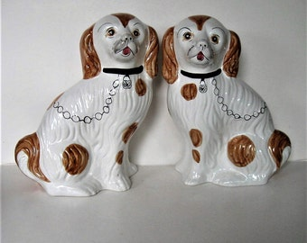 """SALE, Large Pair of vintage Staffordshire style ceramic dogs, Made in Portugal, signed, 11 1/2"""" tall,  English Country decor, gift idea"""