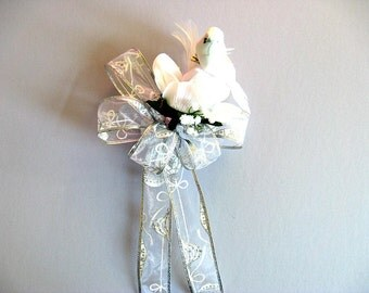 Bow for Christmas weddings, White wedding gift bow, Wedding gift for brides, Bridal shower bow, Bow for presents, Gift wrap bow (W134)