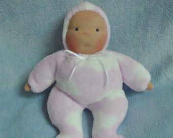 "Fretta's Waldorf style floppy Baby, 11"" / 28 cm tall. Soft child friendly baby doll."