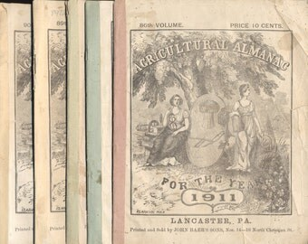Agricultural Almanac, Lancaster PA 5 Volumes, 1911 thru 1915