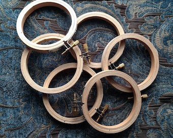 "Six 3"" 3 Inch Wood Embroidery Hoops NEVER USED"