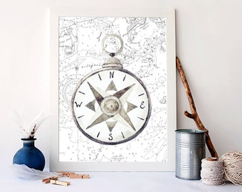 Vintage Compass Art, Nautical Map Art, Sea Life Decor, Nautical Bathroom  Decor,