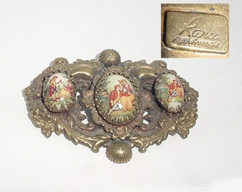 Signed Brooch - 1940's - Lovely  Signed Karu Brooch - Victorian Man Lady Inserts