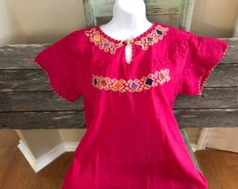 Authentic Mexican Hand Embroidered Bright Pink Top (Medium)