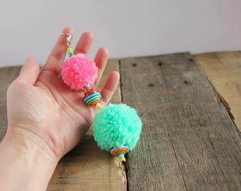 Kiss Me Quick  Pom Pom Puff Ball Purse Bag Handbag Planner Zipper Charm Pull, Key Fob Keychain Keyring