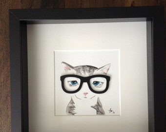 "Skeptical kitty Unique original gift 9"" x 9"" pet cat Wall Art"