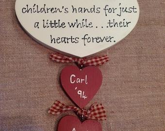 Personalised Mothers Heart Children's Names Birthdays
