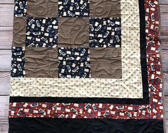 Cotton Whimsical Sheep Quilt. Made with 7in. blocks and strip print. Machine Quilted. 70X83.