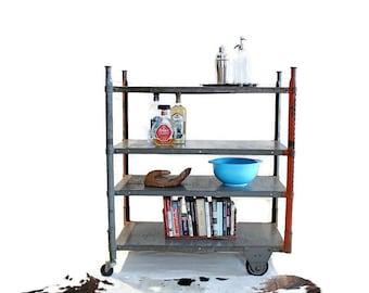 Vintage Industrial Cart - Steel - Rolling Shelf - Heavy Gauge Factory Cart - Storage - Urban Industrial Decor - Adjustable Shelving