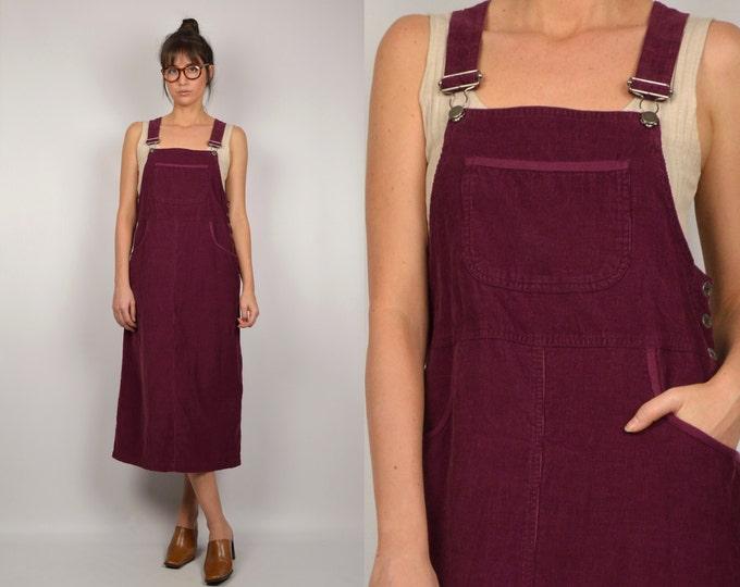 90's Corduroy Overalls Dress
