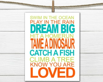 Nursery Decor - Dreams for a little boy - Customized Subway Art