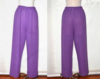 High Waisted Purple Pants, Casual Pants, Women's Pants, Jaclyn Smith Vintage High Waisted Pants, Hipster, Elastic Waist