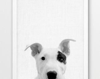 Dog Print, Cute Puppy Photo, Nursery Animals Wall Art, Small Baby Dog Puppy Print, Black White Photography, Kids Room Home Printable Decor