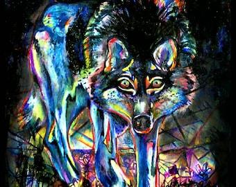 Blue Wolf Spirit Animal Poster - Rainbow Crystal Painting Print- Self Truth, Empowerment, Transformation