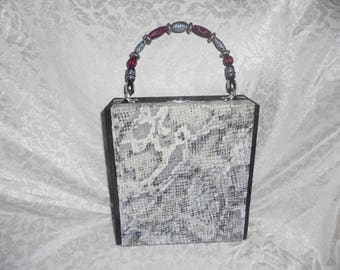 Cigarbox Purse, Pocketbook, Snakeskin Natural Leather, Tina Marie Purse Purse, Vintage, Gray Ivory